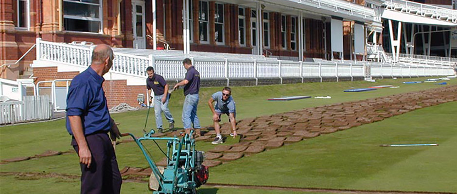 Laying turf at Lord's Cricket Ground.